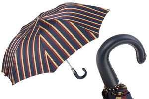 Navy Striped Folding Umbrella by Pasotti