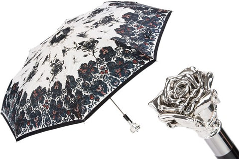 Silver Rose Folding Umbrella by Pasotti