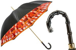Women's Classic Black Umbrella with Orange Brush Strokes by Pasotti