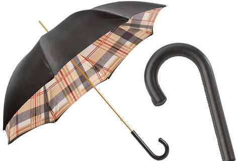 Women's Classic Black Umbrella with Tartan Print by Pasotti