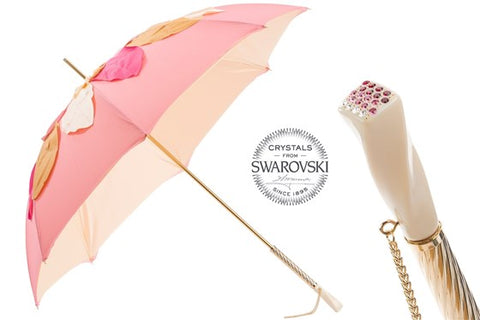 Women's Beautiful Pink Umbrella with Leaves by Pasotti