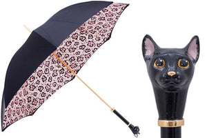 Women's Black Cat with Animalier Print Umbrella by Pasotti