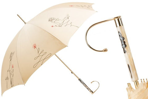 Women's Ivory Sketch Umbrella by Pasotti