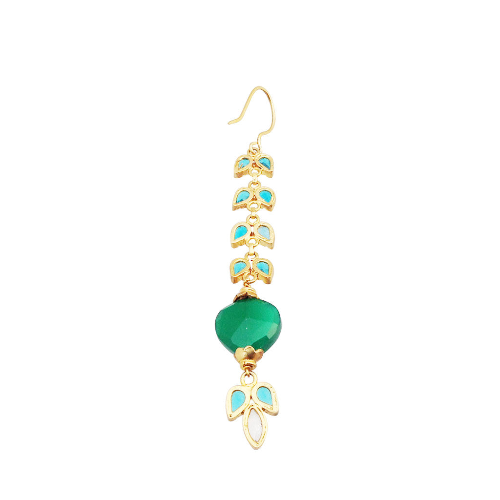 blue topaz and green onyx pure silver gold plated earrings