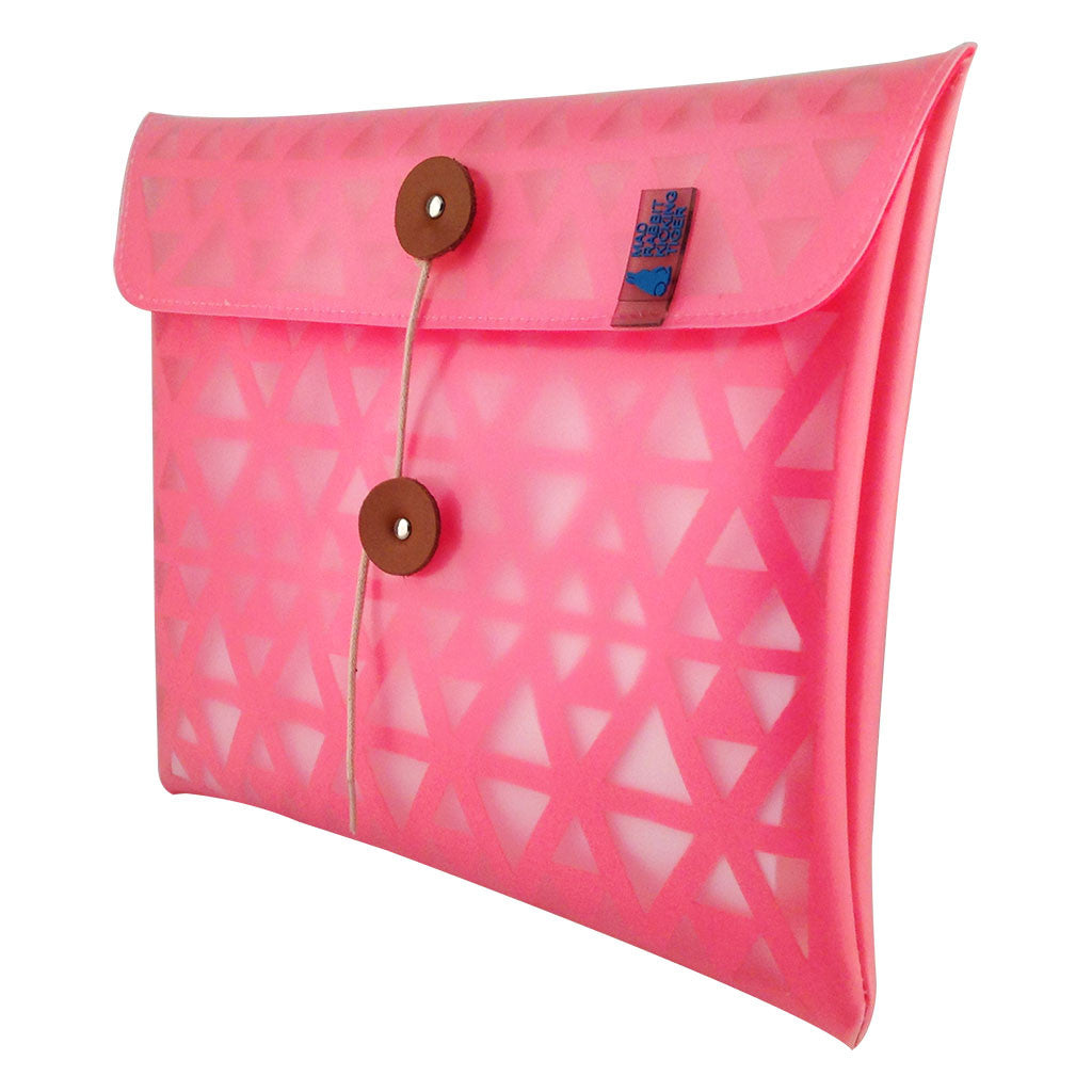 Hot pink ipad sleeve With a light and waterproof THERMO resin exterior and cushioning laser cut SMRT felt interior, your iPad will be protected in extreme style. The design is inspired from urban architecture and is completely eco-friendly-side