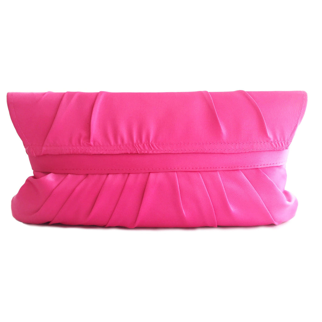 Crystal stain silk hot pink evening clutch-back