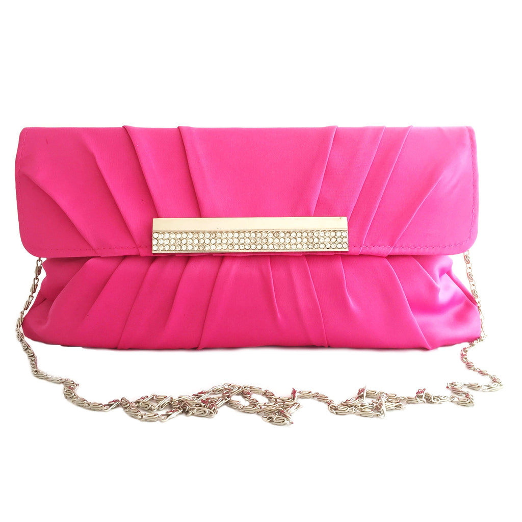 Crystal stain silk hot pink evening clutch-front