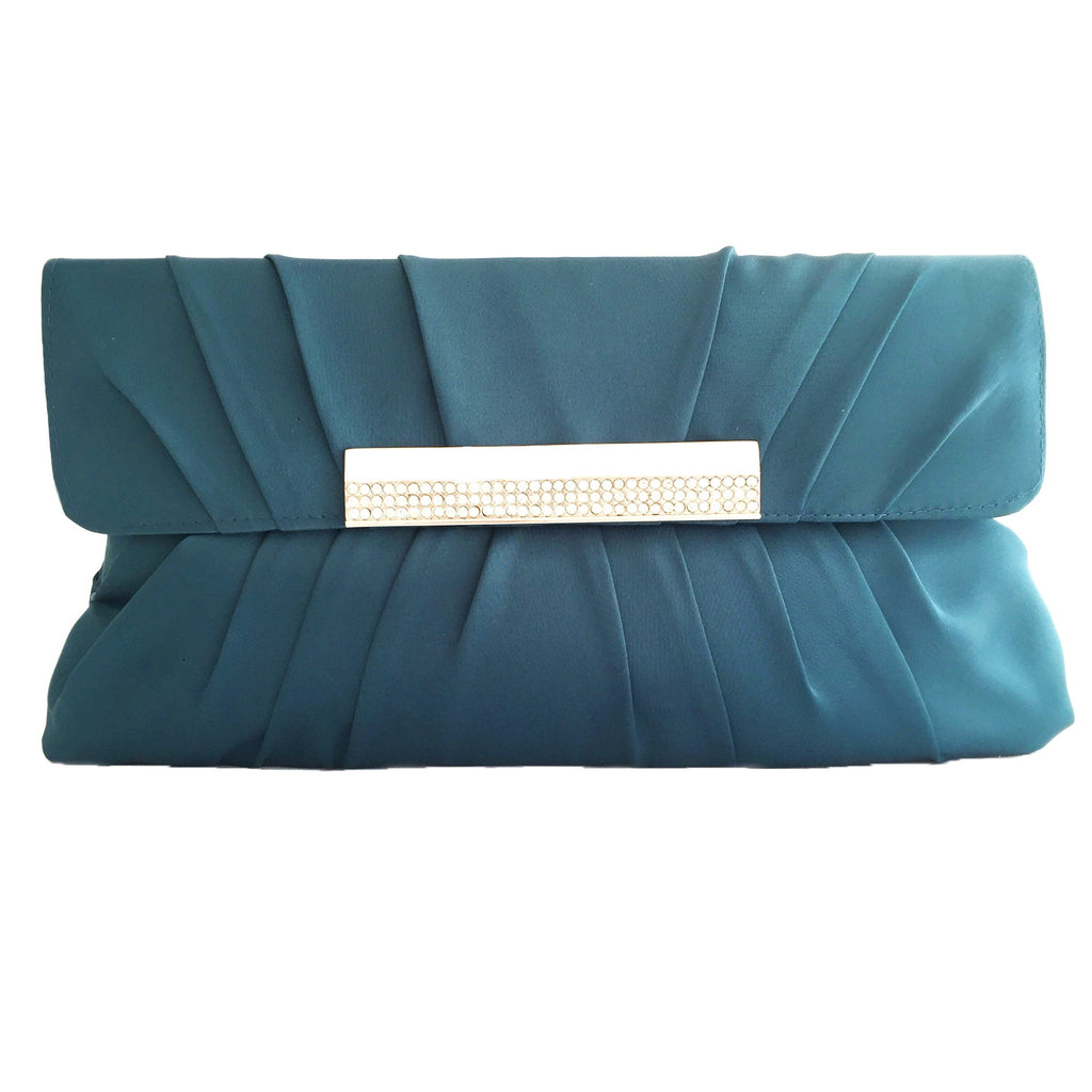Crystal stain silk teal color evening clutch