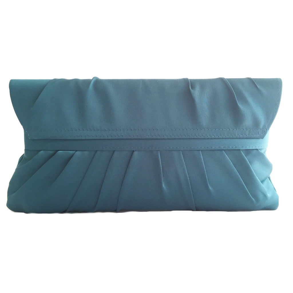 Crystal stain silk teal color evening clutch-back