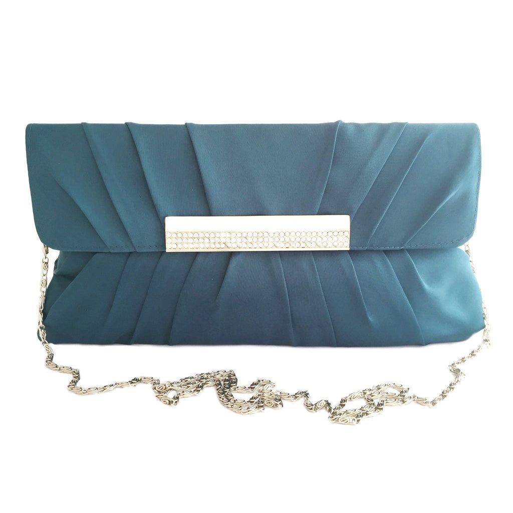 Crystal stain silk teal color evening clutch-front