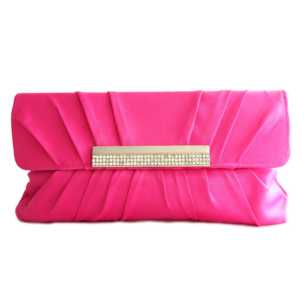 Crystal stain silk hot pink evening clutch