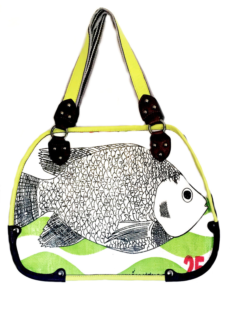 handcrafted fish tote bag made with recycled materials