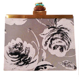 floral ombre monochrome clutch in grey black and white