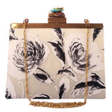 floral ombre monochrome clutch in grey black and white-front