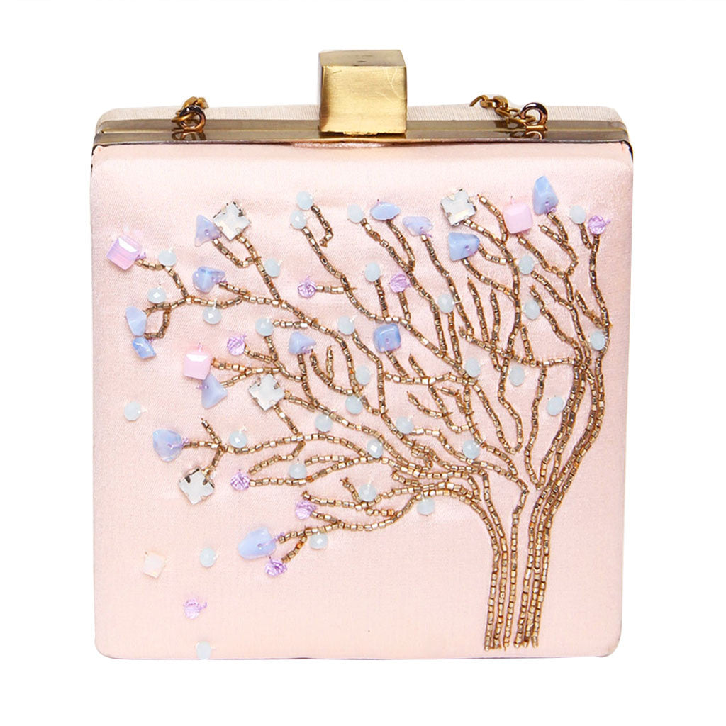 beaded tree design clutch in nude pink grey color