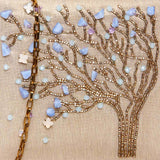 beaded tree design clutch in nude pink grey color-detail
