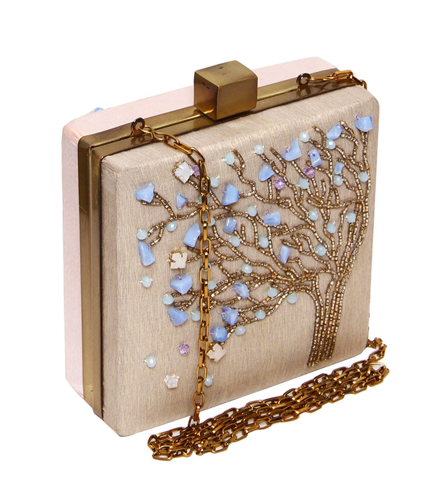 beaded tree design clutch in nude pink grey color-side