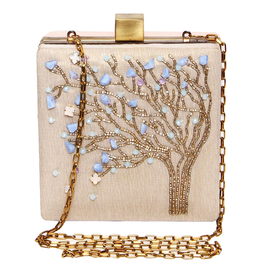 beaded tree design clutch in nude pink grey color-back