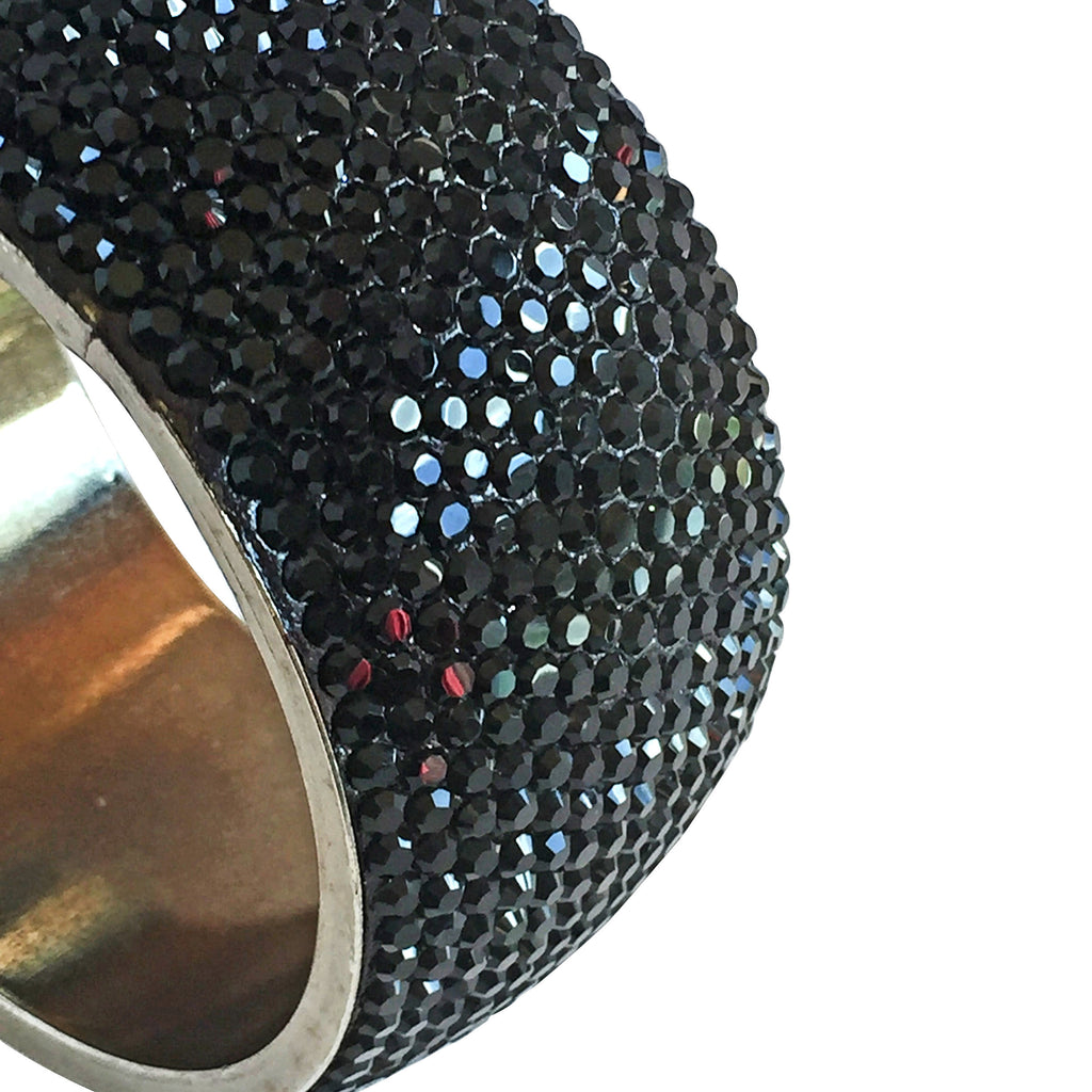 black sparkly crystal bangle handcrafted
