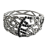 black ang grey cystal cuff bracelet handcrafted
