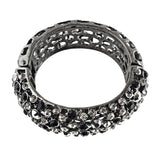 crystal cuff bracelet with black and grey crystal handcrafted