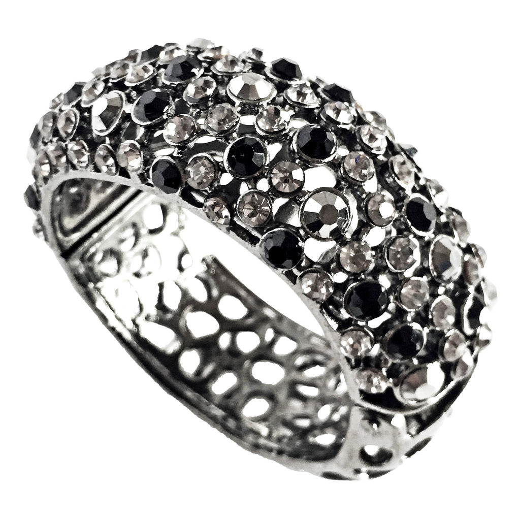 crystal cuff bracelet with black and grey crystal handcrafted-side