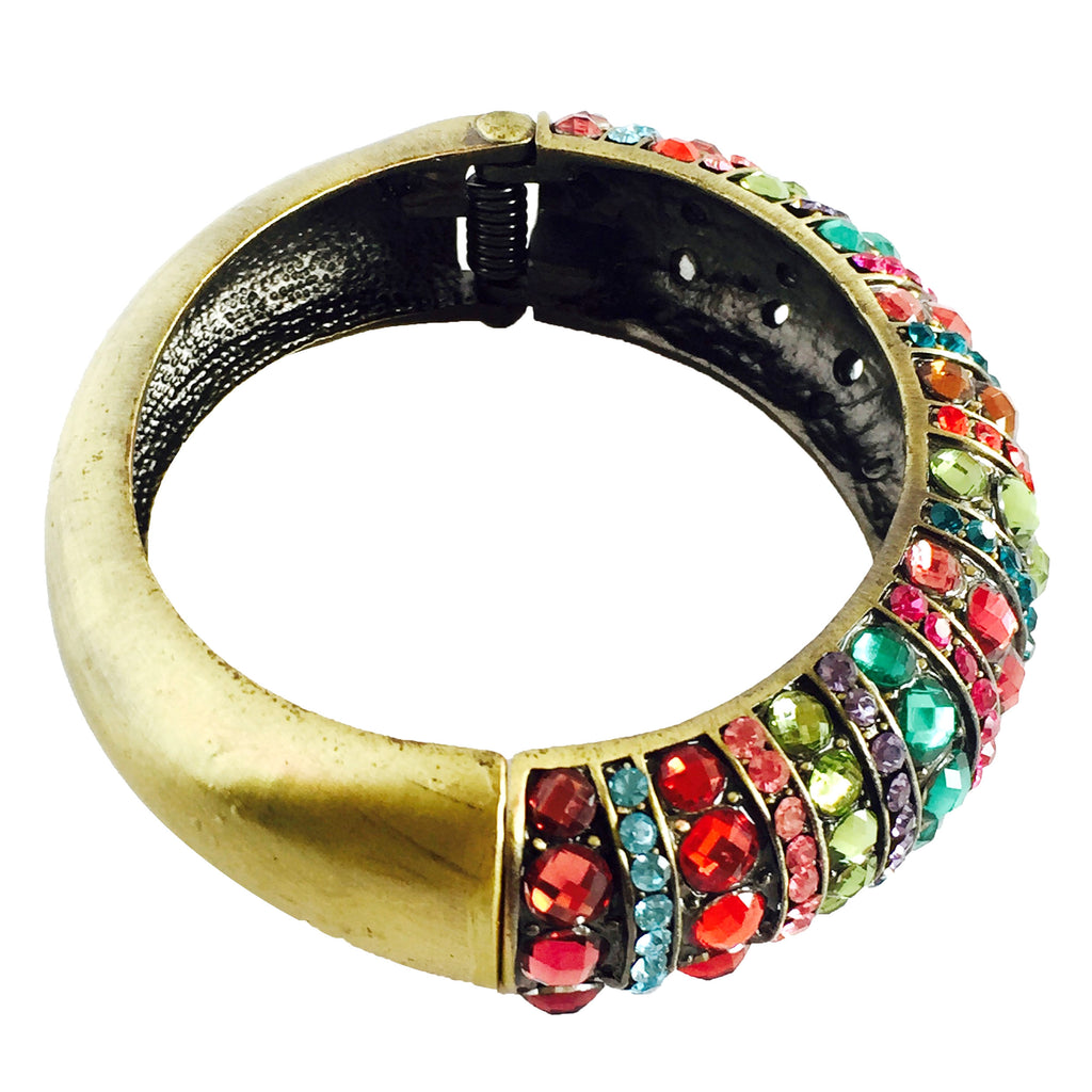 multicolor Crystal Cuff Bracelet handcrafted-side