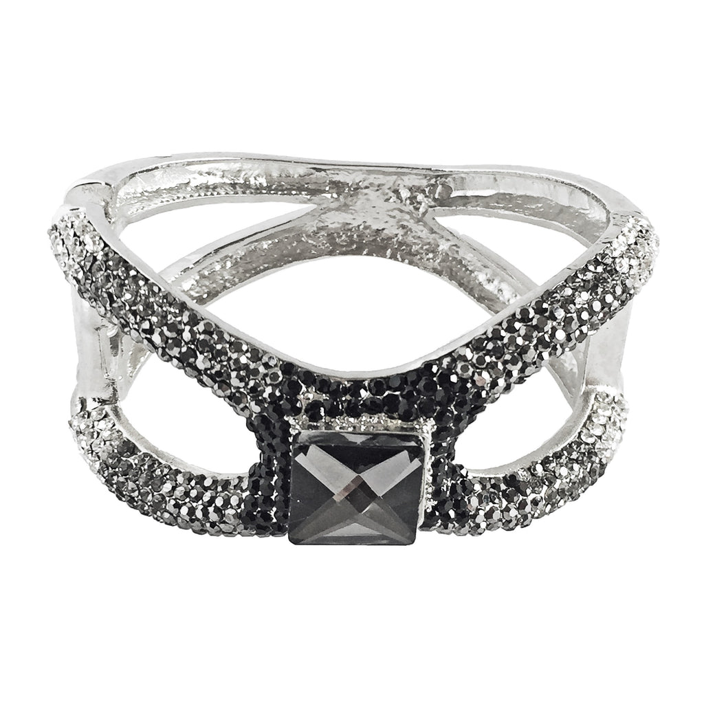 black and grey crystal cuff bracelet-front