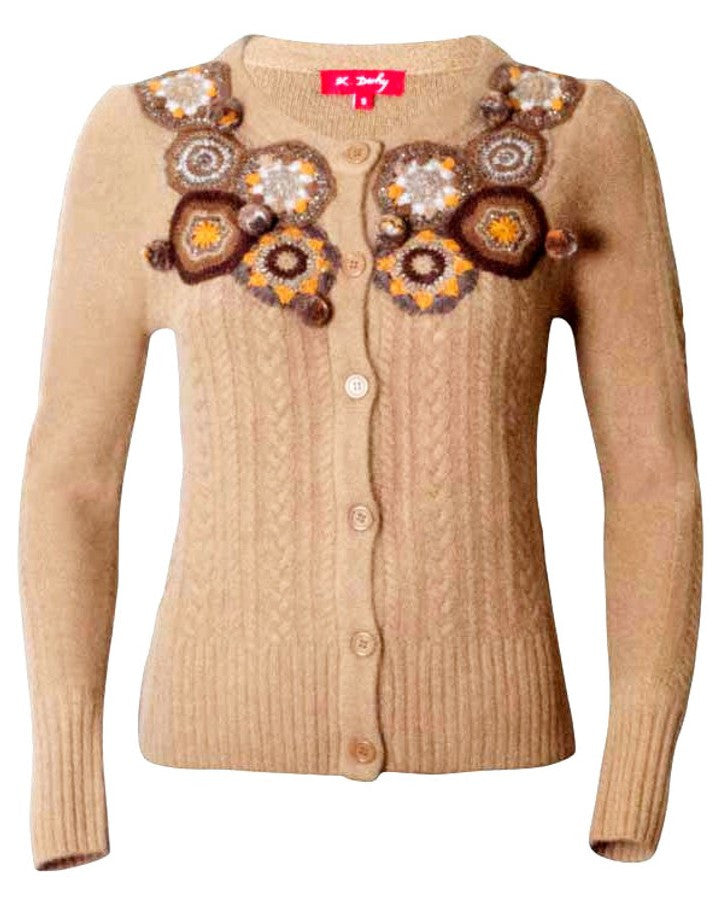 Angora and lamb wool crochet patchwork cardigan in beige brown color