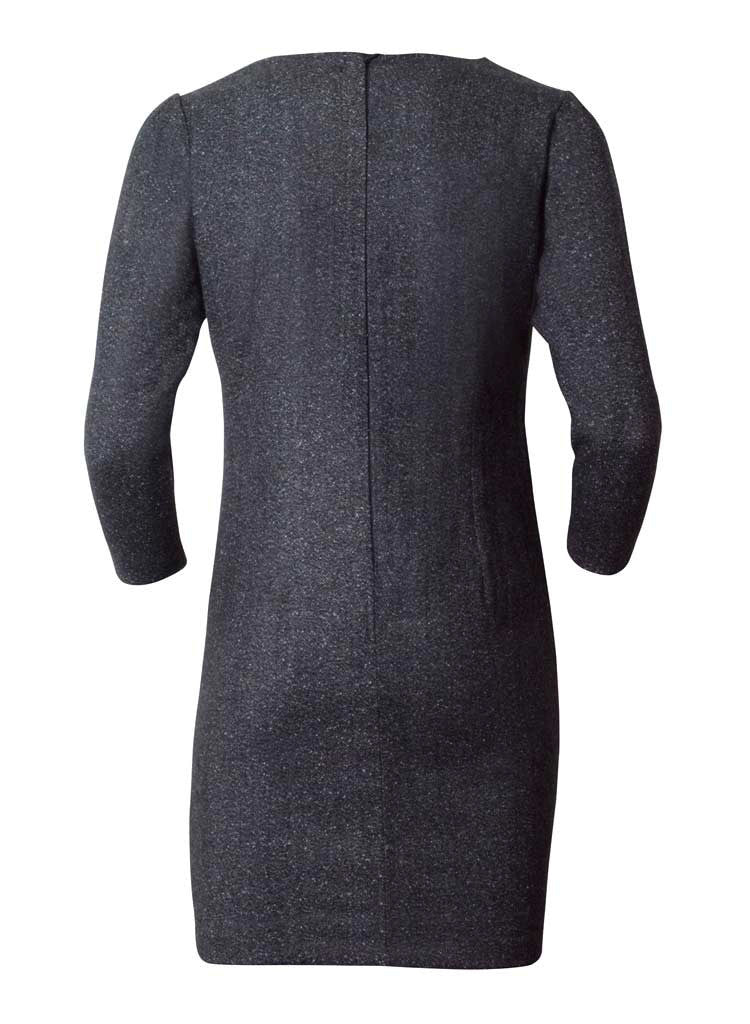 black faux leather patchwork lana wook dress in grey-back