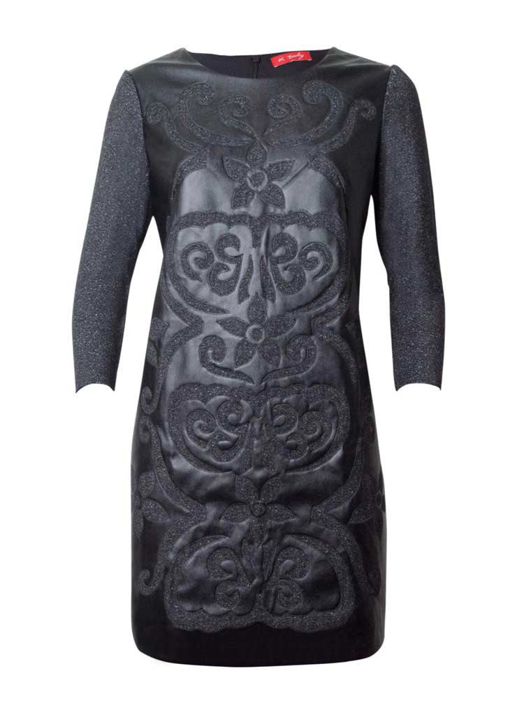 black faux leather patchwork lana wook dress in grey