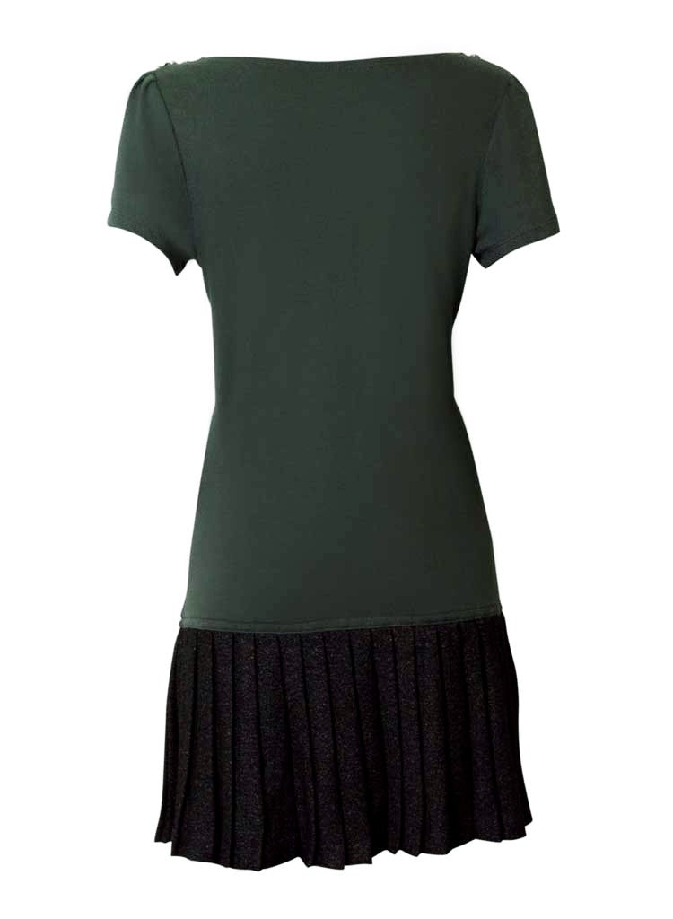 fun olive green lana wool dress-back