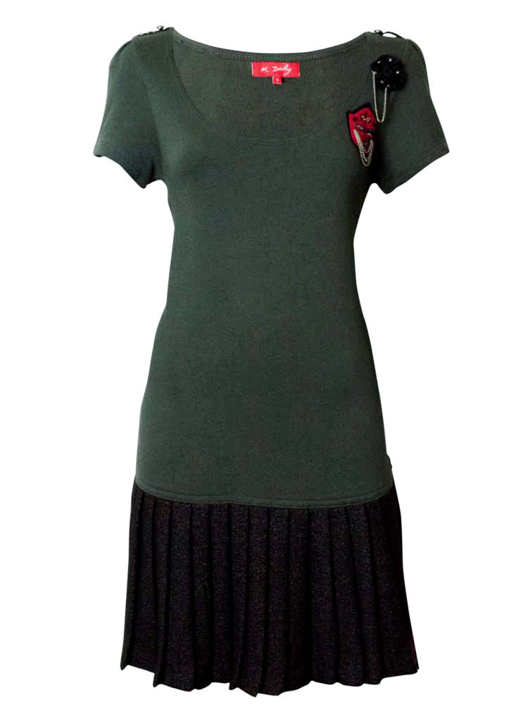 fun olive green lana wool dress