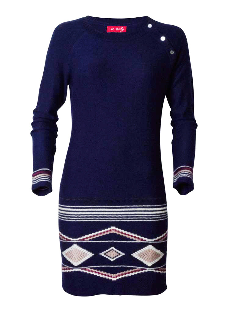 lana and lamb wool knitted dress in navy blue