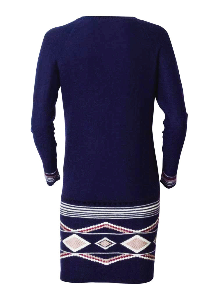 lana and lamb wool knitted dress in navy blue-back