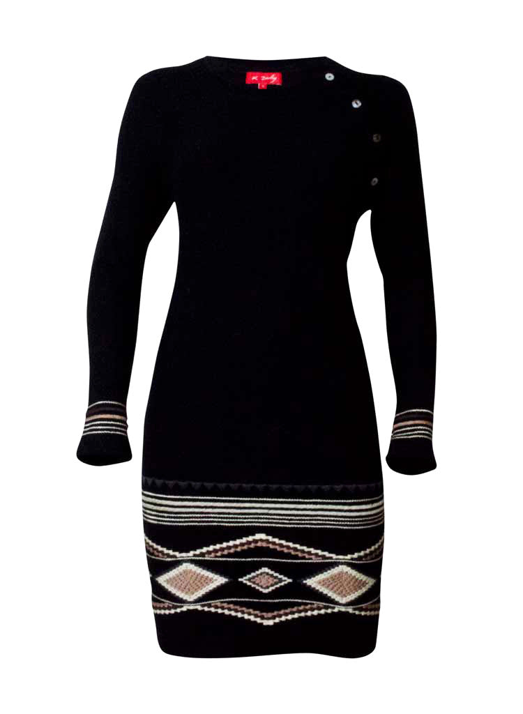 lana and lamb wool knitted dress in black