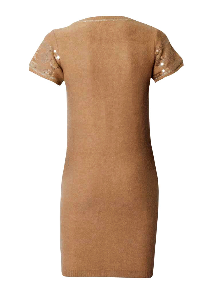 sequin angoora woollen dress in beige-back