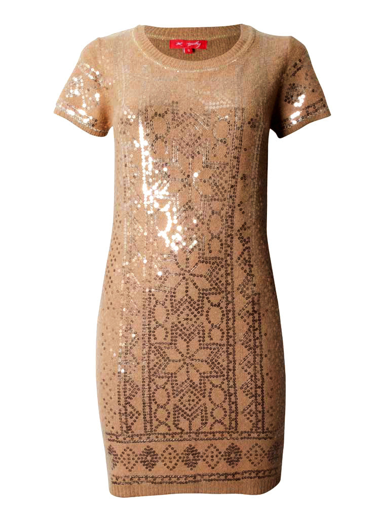sequin angoora woollen dress in beige