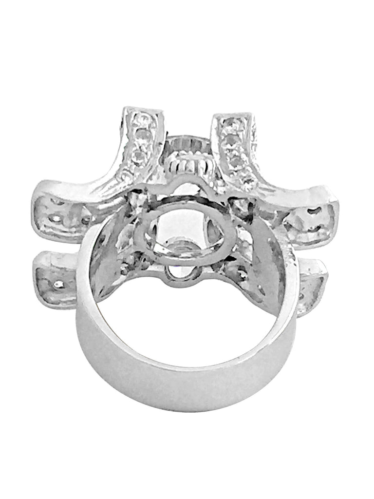 Crown Solitaire sterling silver ring with cubic zirconias-back