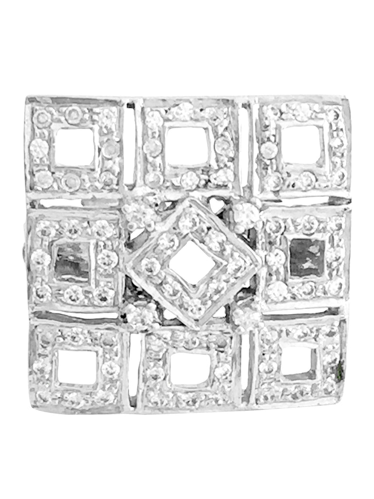 Cubic Zirconia Sterling Silver Square Ring