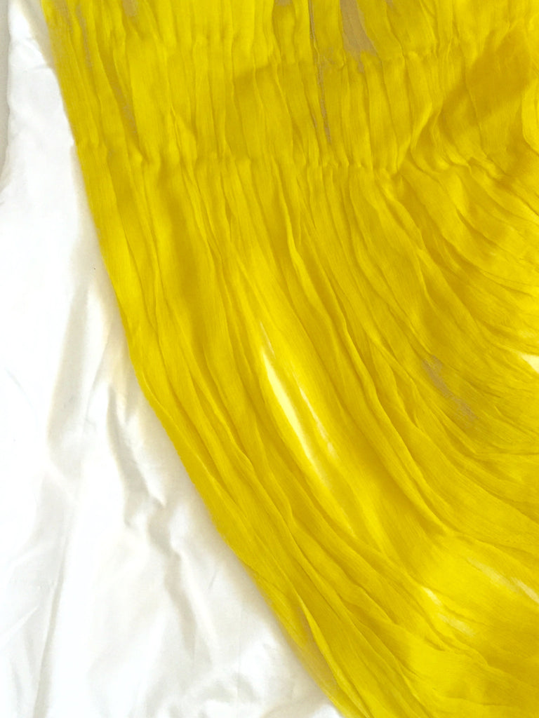 white tafetta silk fitted dress with yellow chiffon silk handpleated drape on front and back