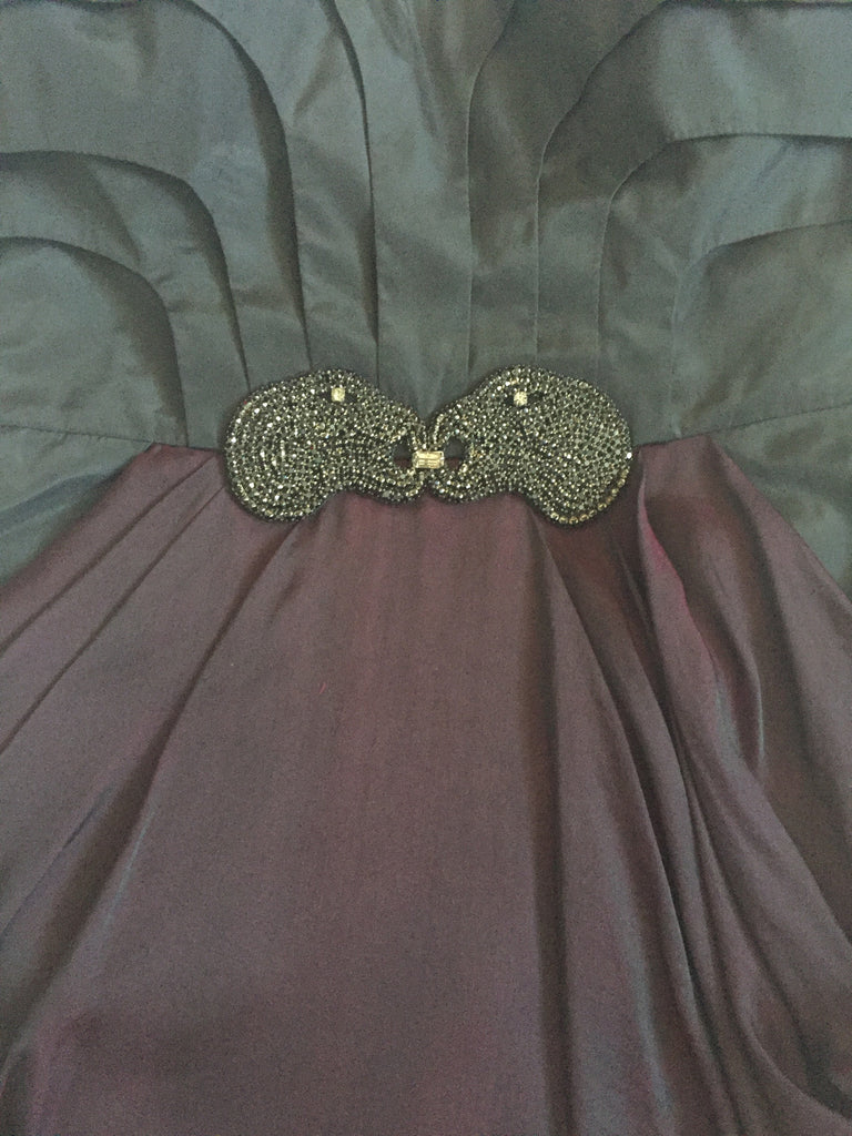 tube silk cocktail evening formal dress in wine color with crystal brooch
