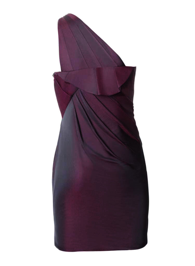off shoulder silk cocktail evening formal dress in wine color with brooch detail on front