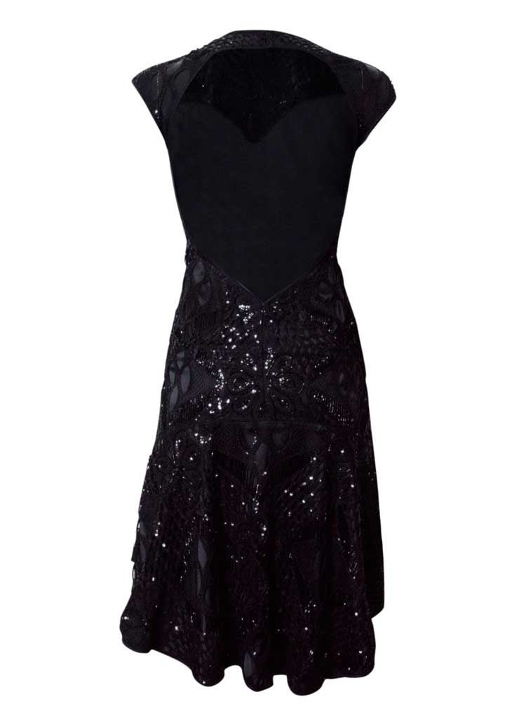 black backless embroided lace dress