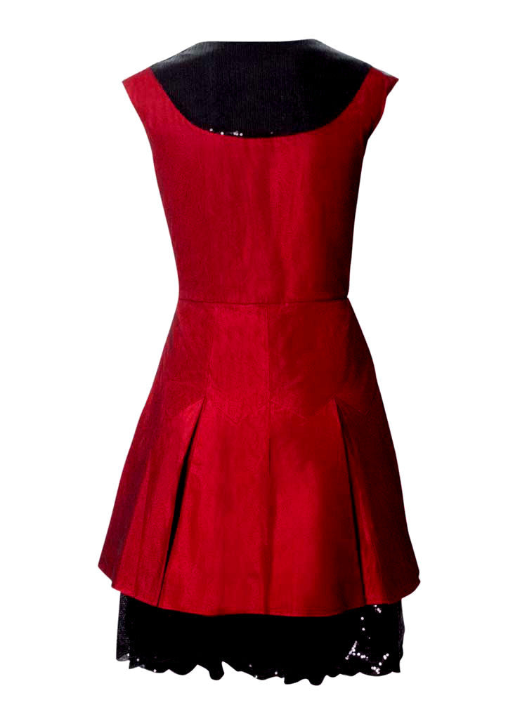 black and red sequin formal dress made of tafetta silk