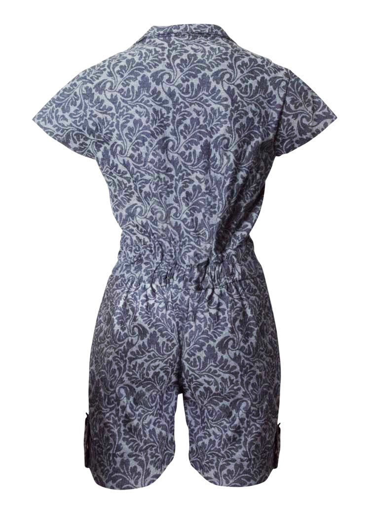 floral stretch denim blue short jumpsuit playsuit