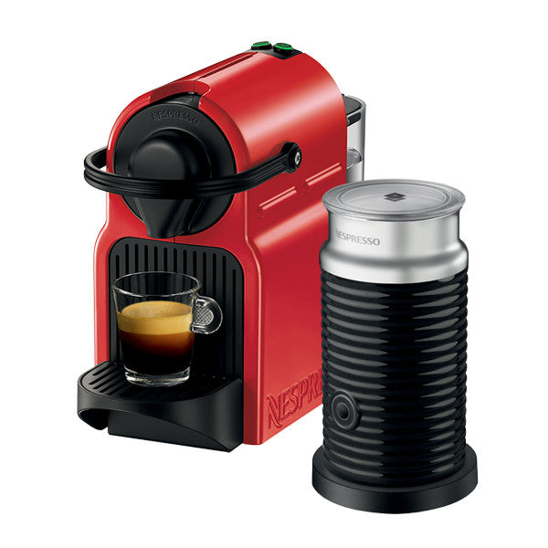 Coffee Machine Inissia C40 (Ruby Red) & Aeroccino Bundle