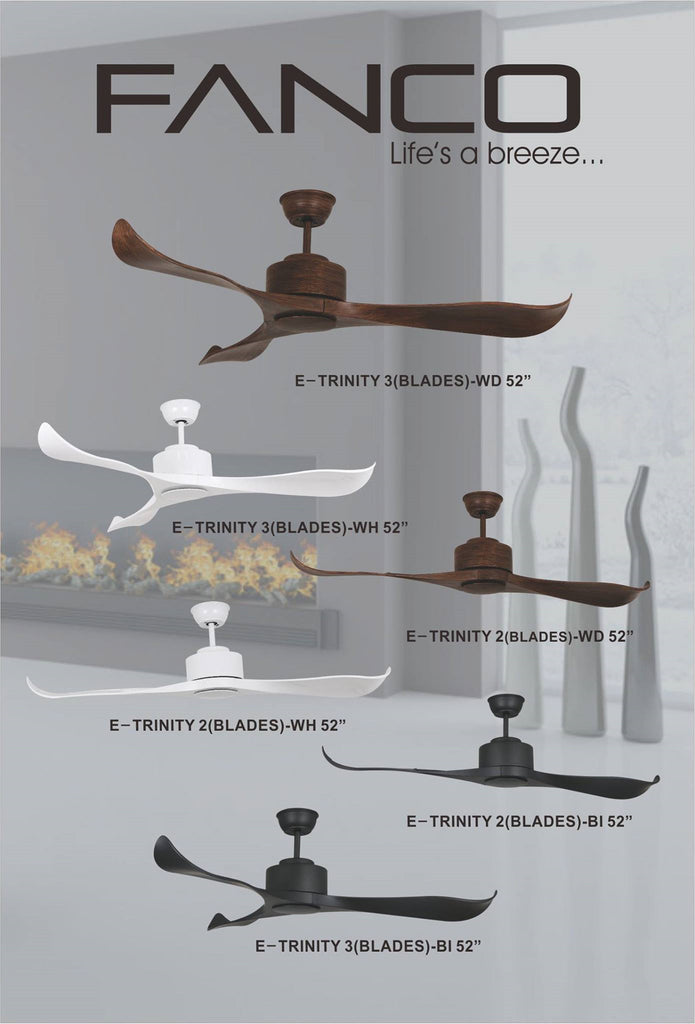 E-TRINITY 42/52INCH CEILING FAN WITH REMOTE / 2 BLADE OR 3 BLADE