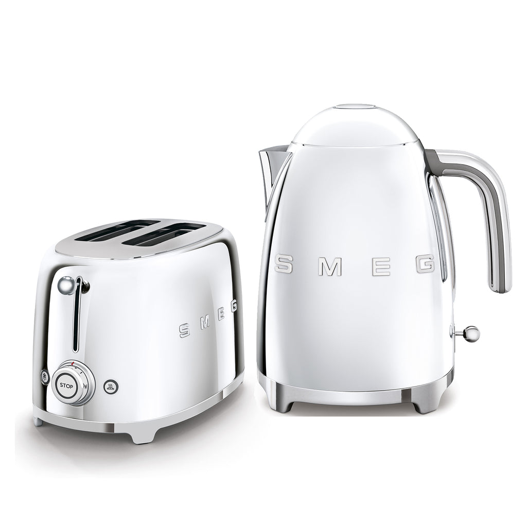 CHROME SET: 2-SLOT TOASTER & 1.7L KETTLE