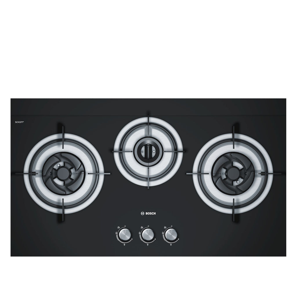 PBD7331SG 78.5cm Black Tempered Glass Gas Hob